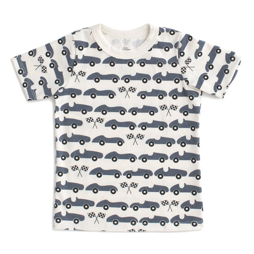 Short Sleeve Tee, Race Cars Slate Blue
