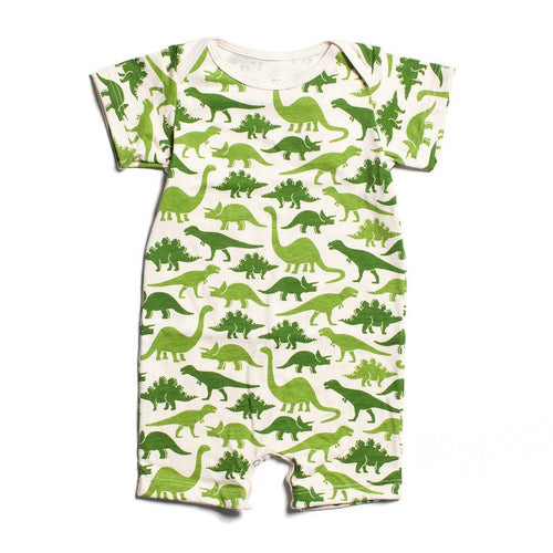 Winter Water Factory Summer Romper, Dinosaurs Green