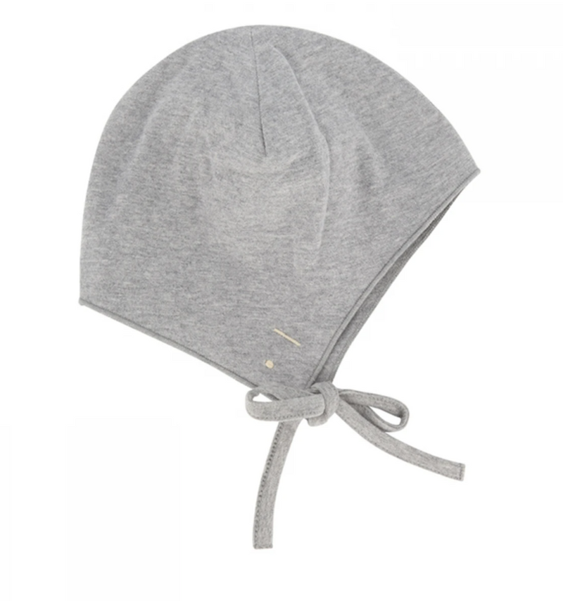 Baby Hat with Strings, Grey Melange