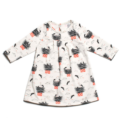 Winter Water Factory Toronto Baby Dress, Storks Charcoal & Orange