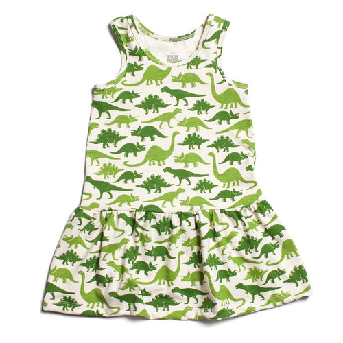 Winter Water Factory Valencia Dress, Dinosaurs Green