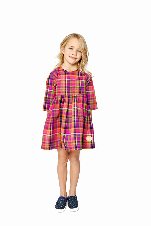 Smiling Button Winnie Dress, Autumn Plaid