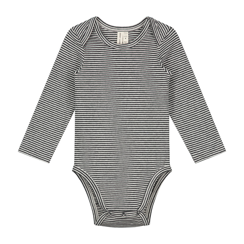 Baby L/S Onesie, Nearly Black/Cream Stripe