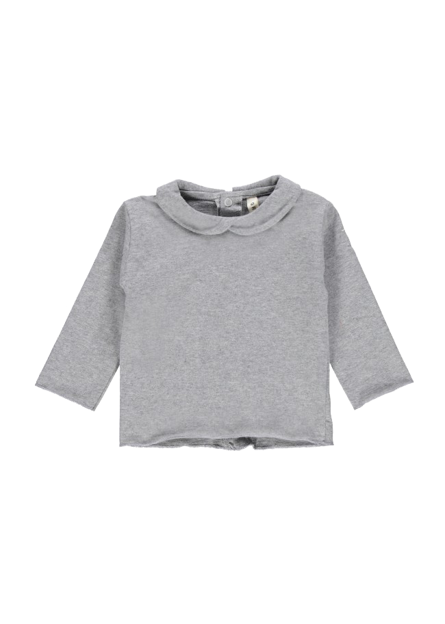 Gray Label Baby Collar Tee, Grey Melange