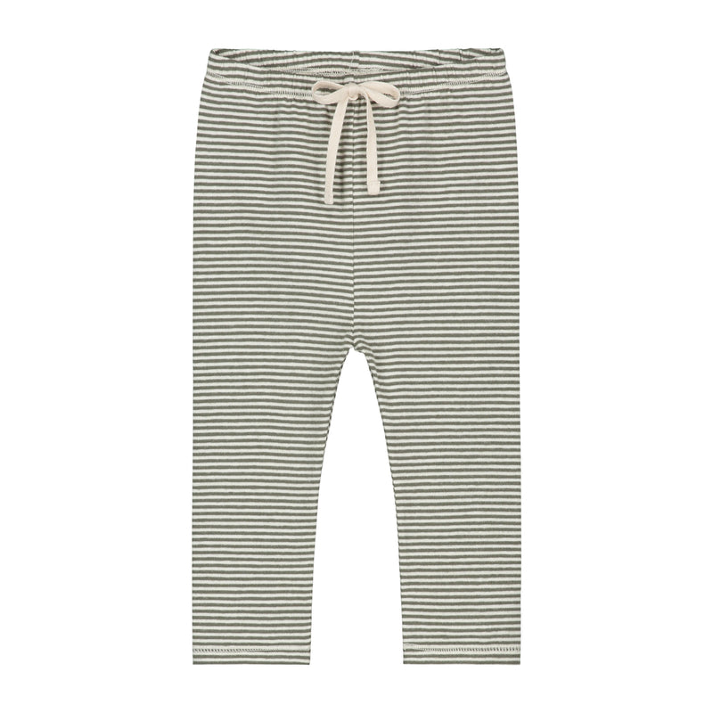 Gray Label Baby Leggings, Moss/Cream Stripe