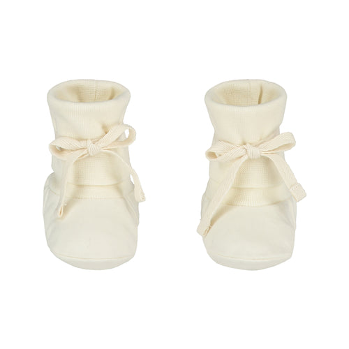 Gray Label Baby Ribbed Booties, Cream