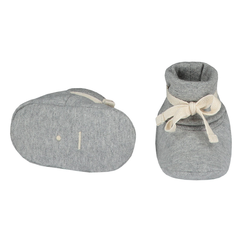 Gray Label Baby Ribbed Booties, Grey Melange