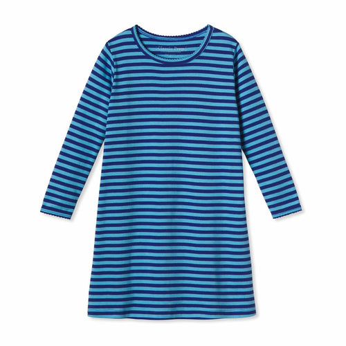 Jillian Long Sleeve Dress, Alaskan Blue Bright Navy Stripe