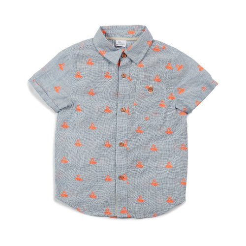 Egg Adrian Short Sleeved Button Down, Chambray Octopus