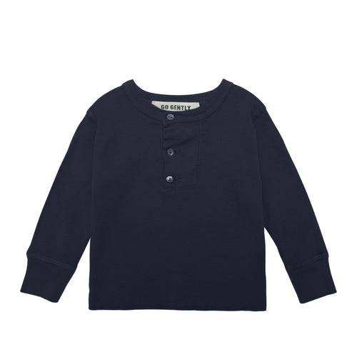 Wide Placket Henley, Navy
