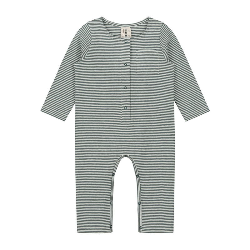 Baby L/S Playsuit, Blue Grey / Cream Stripes