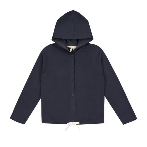 Gray Label Hooded Cardigan With Snaps, Night Blue