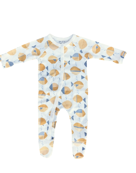 Long-Sleeve PJ with Feet, Meri Print