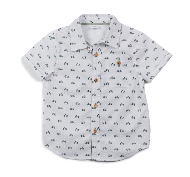 Egg Adrian Short Sleeve Button Down, White