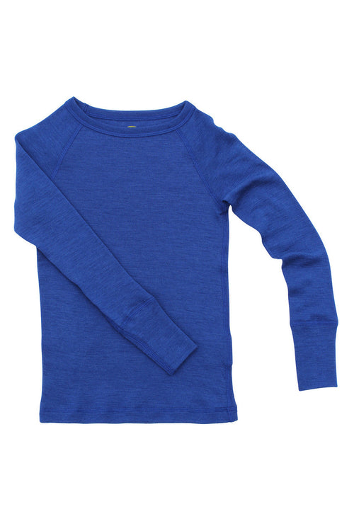 Nui Organics Merino Thermal Crew, Blue