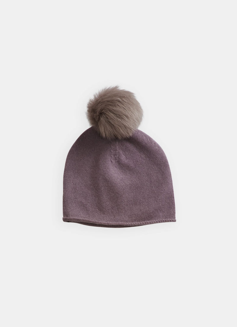 Belle Enfant Hat with Shearling Pompom, Mauve