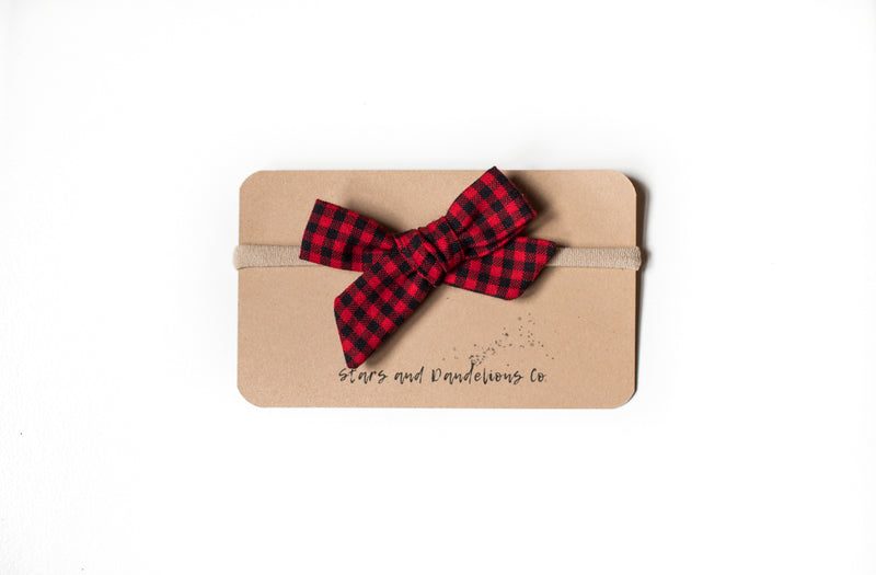 Stars and Dandelions Lillianna Baby Bow, Carolina Gingham Scarlet