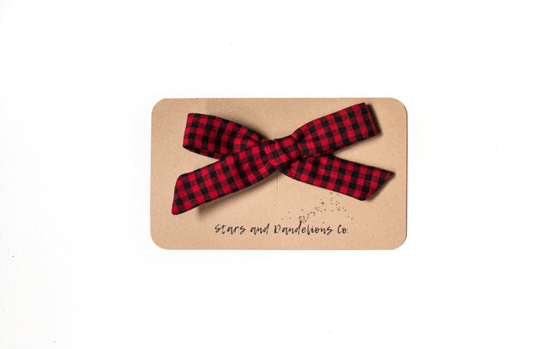 Stars and Dandelions Lauren Schoolgirl Bow, Carolina Gingham Scarlet