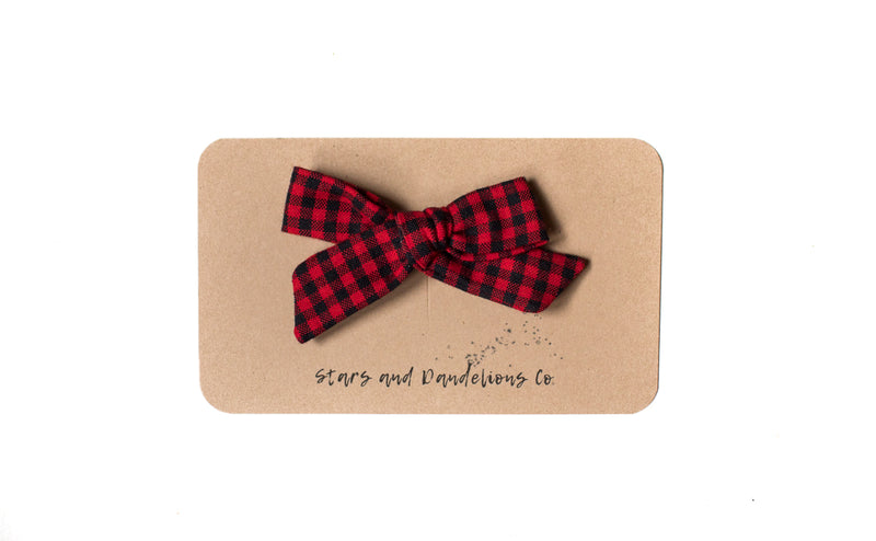 Stars and Dandelions Josie Small Bow/Pig Tail, Carolina Gingham Scarlet