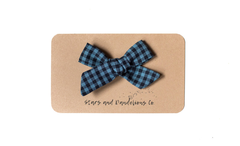 Stars and Dandelions Josie Small Bow/Pig Tail, Carolina Gingham Indigo