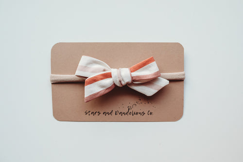 Baby Bow Love Stripe, Rusted Mauve
