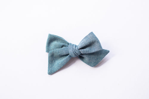 Stars and Dandelions Nora Medium Bow, Chambray
