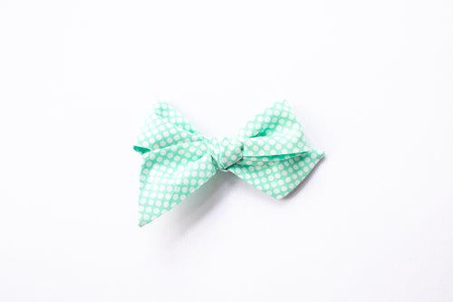 Stars and Dandelions Nora Medium Bow, Vintage Aqua Dots