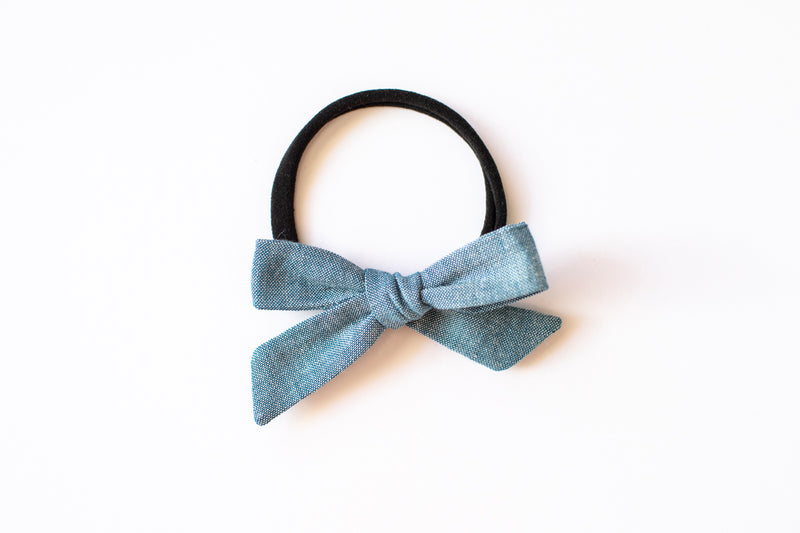 Stars and Dandelions Baby Bow, Chambray