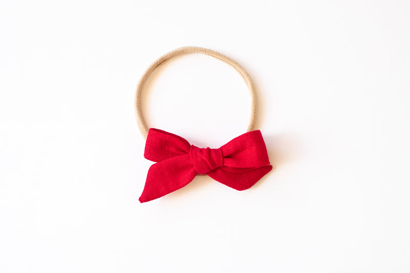 Stars and Dandelions Baby Bow, Red