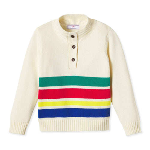 Scott Sweater, Winter White Adirondack Stripe