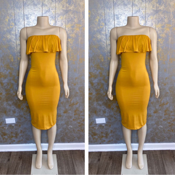 Curvy Flower Ruffle Dress- Mustard