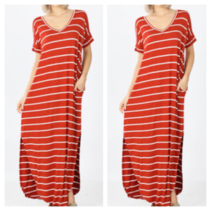 Curvy Stripes On Me Dress- Copper