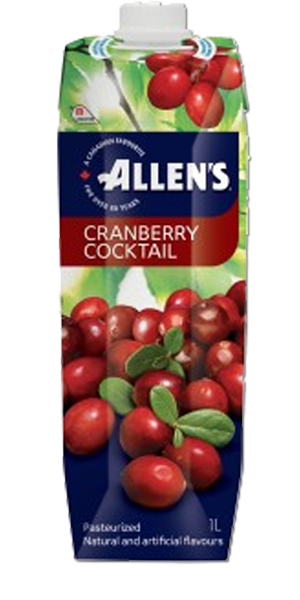 Allen's - Tetra Cranberry Cocktail - 12/1 L - Item # 75858