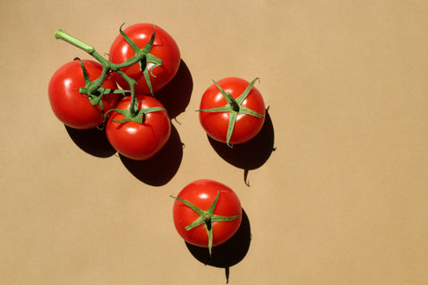 tomatoes against a yellow background