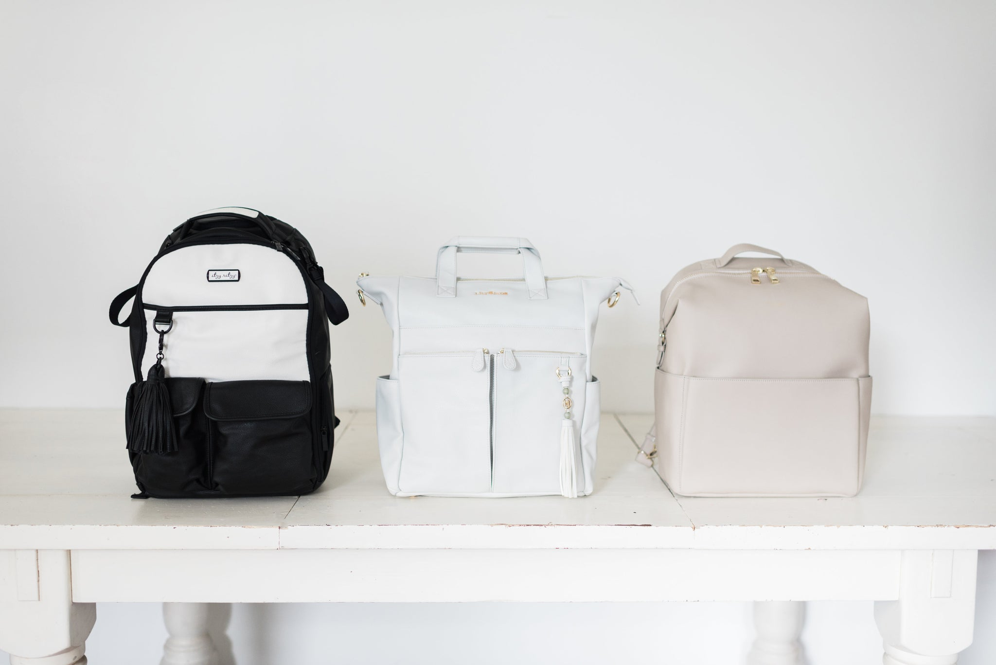 Diaper bag comparison, Itzy Ritzy, Mina Baie, Lily Jade, vegan leather backpack, vegan leather diaper bag