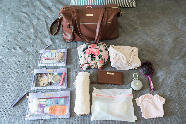 hospital packing list, labor and delivery, baby products, packing   cubes, leather diaper bag