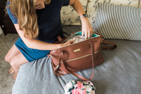 hospital packing list, labor and delivery, motherhood, leather diaper bag