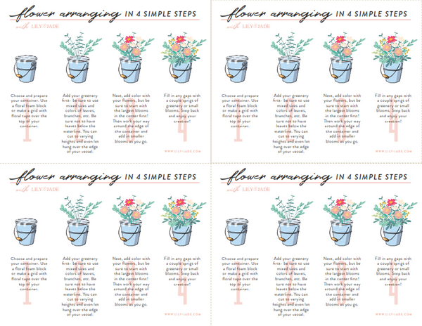 Printable instructions for flower arranging party for baby showers, birthday parties, etc.