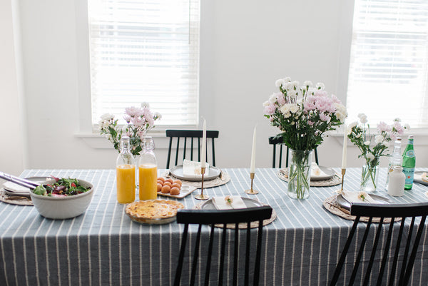 Lace, linen, and flowers tablescape