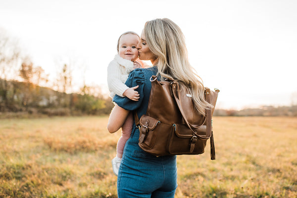 backpack diaper bags, motherhood, resources for moms, leather diaper bags, vegan leather diaper bags