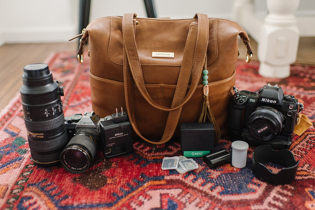photography bag, leather backpack, photography organization, lily jade diaper bag