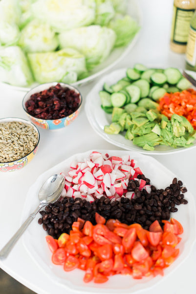 baby shower food, wedding shower food, build your own salad