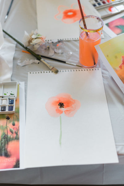 water color, baby shower activity, virtual moms night out, step by step painting