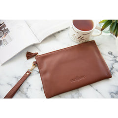 Signature Leather Wristlet - Brandy & Gold