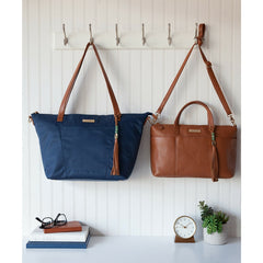 Lorie Navy Nylon - Camel & Gold