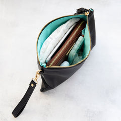 Signature Leather Wristlet - Black & Gold