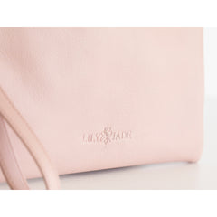 Signature Leather Wristlet - Blush & Gold