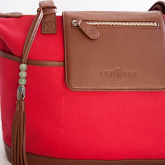 Outlet Madeline Red Canvas & Silver