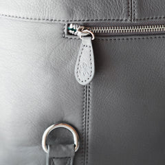 Shaylee - Zippered Pockets - Grey & Silver