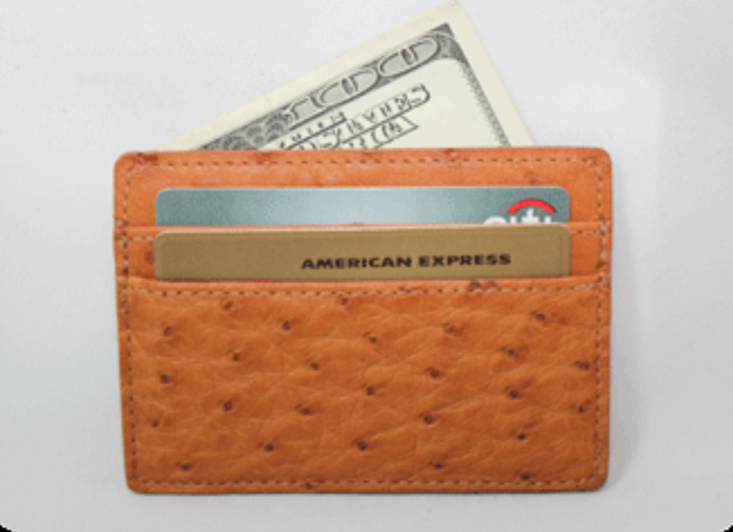 Genuine American Ostrich 5-pocket card wallet